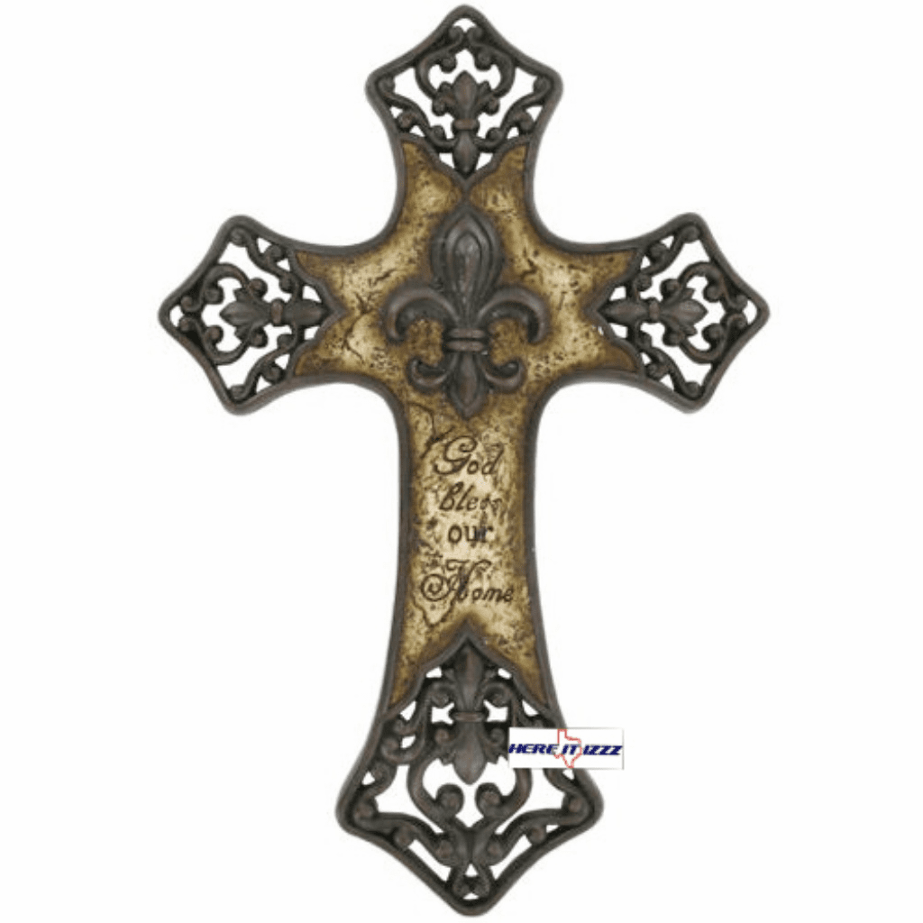 Fleur-de-lis God Bless Our Home Cross