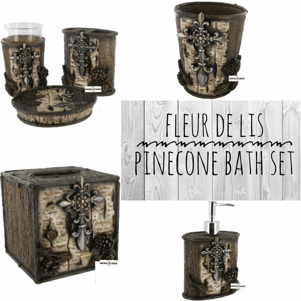 Fleur-de-lis   Pinecone   Six Piece Bathroom Set