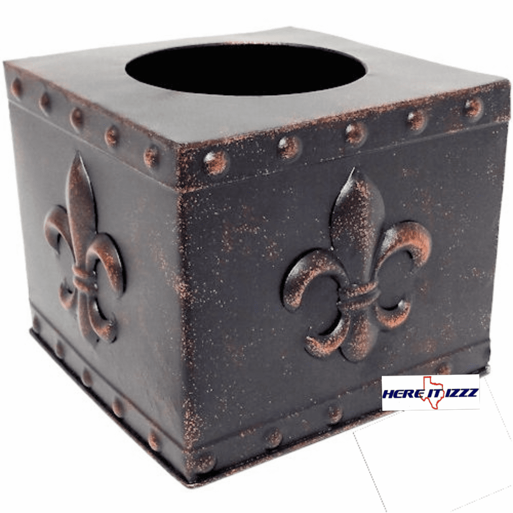Fleur De Lis Square Metal Tissue Box Cover