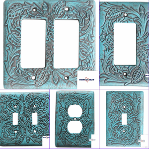 Turquoise Tooled Electrical Switch Cover