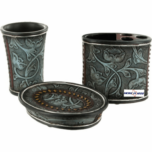 Floral Tooled Turquoise Bathroom Vanity Set