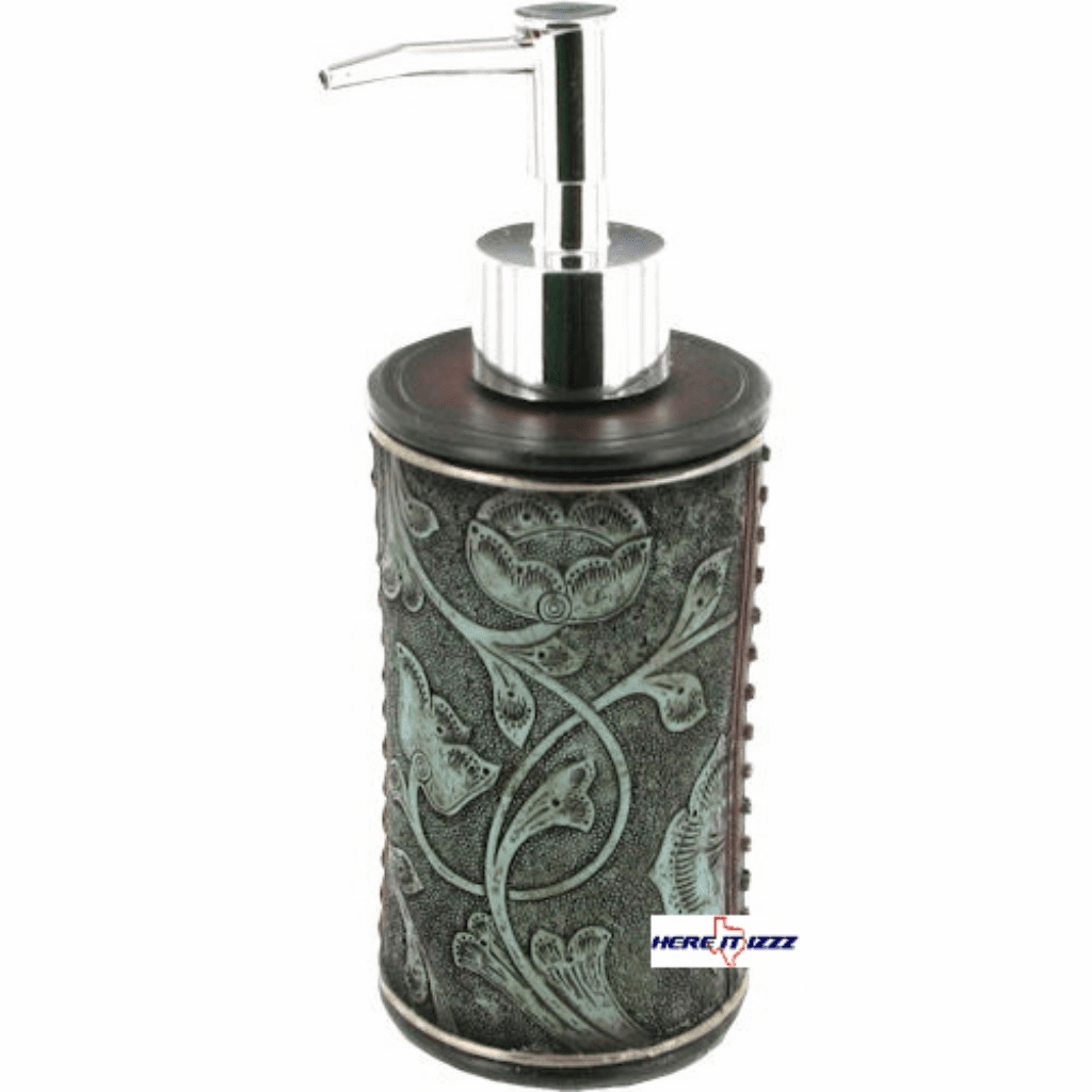Floral Tooled Turquoise Soap Pump
