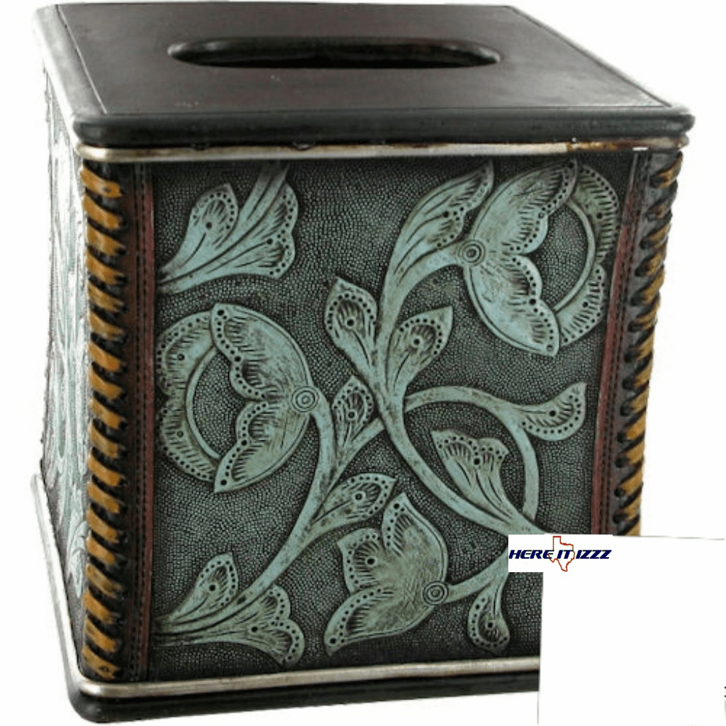 Floral Tooled Turquoise Tissue Box Cover