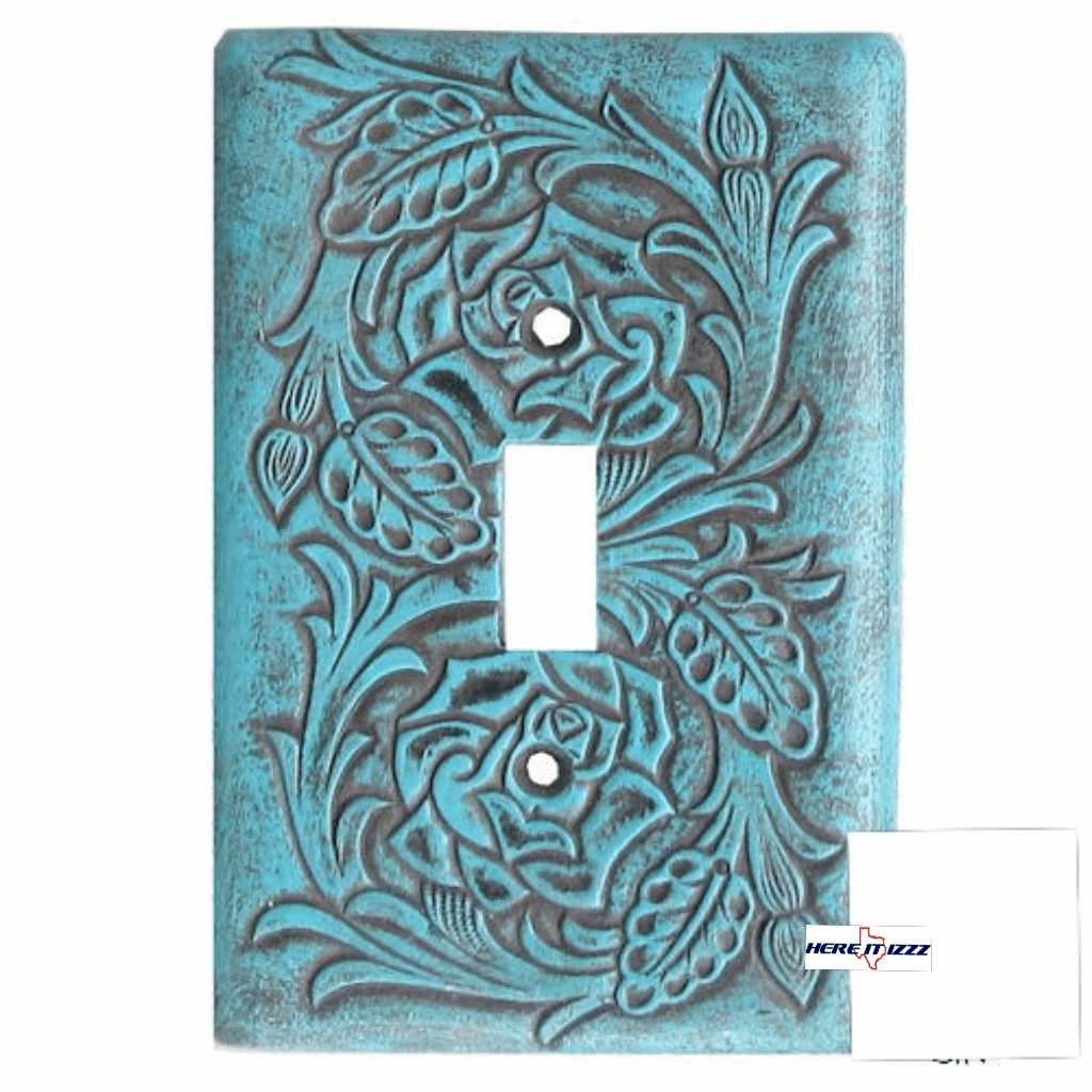 Floral Turquoise Single Switch