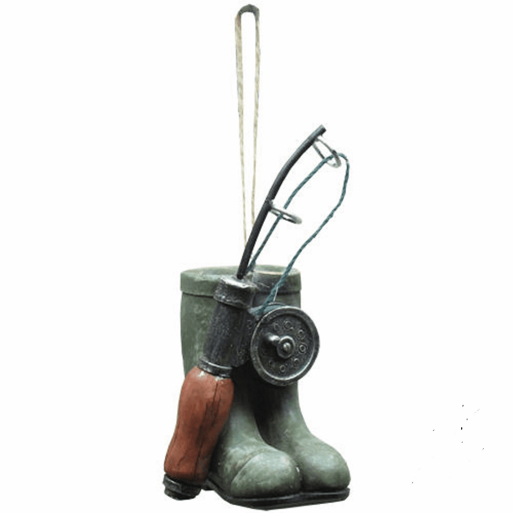 Fly Rod Fishing Boots Holiday Ornament