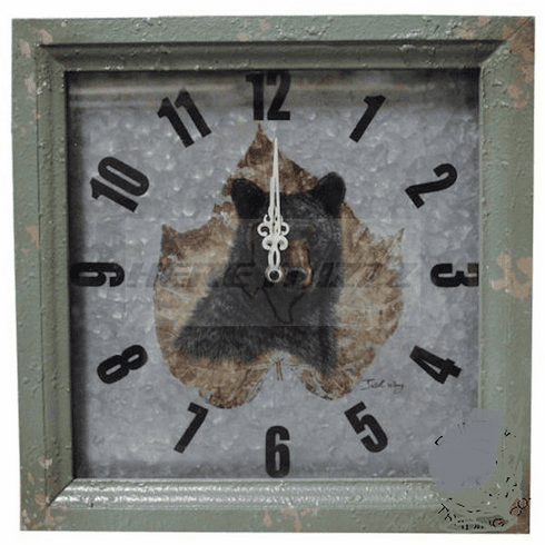 Framed Black Bear on Tin Wall Clock