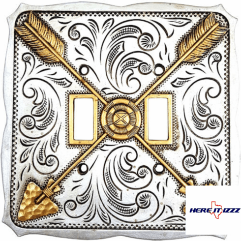 Gold and Silver Arrow Double Switch Plate