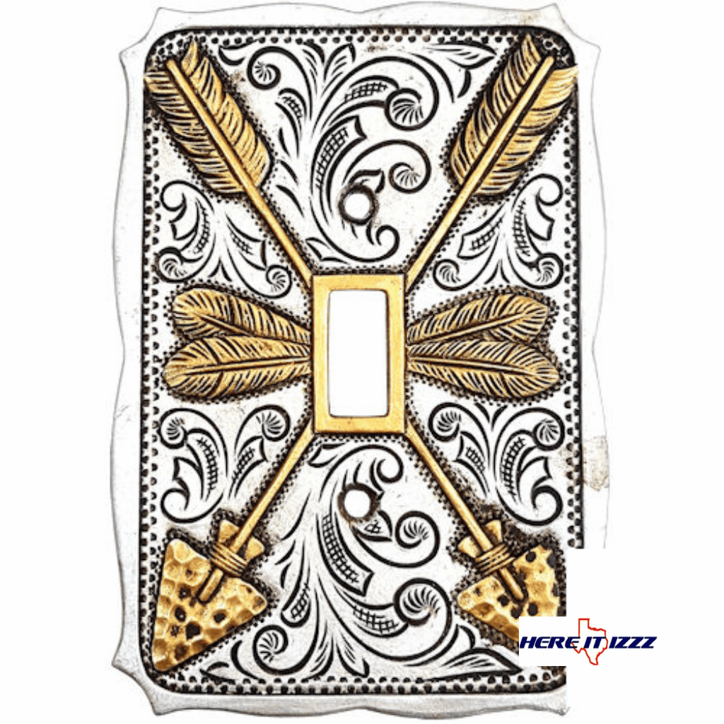 Gold and Silver Arrow Single Switch Plate