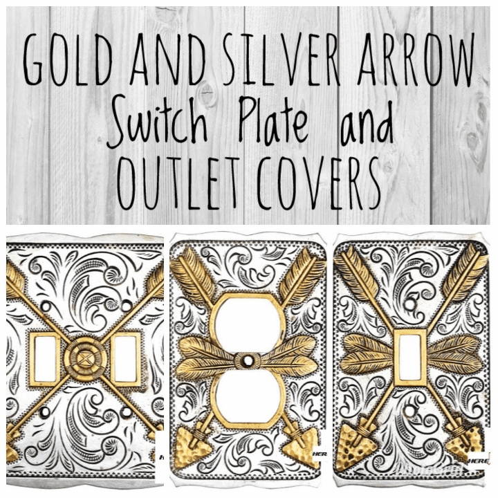 Gold and Silver Arrow Switch Plate and Outlet Covers