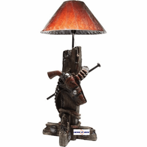 Gun Belt Hitching Post Table Lamp