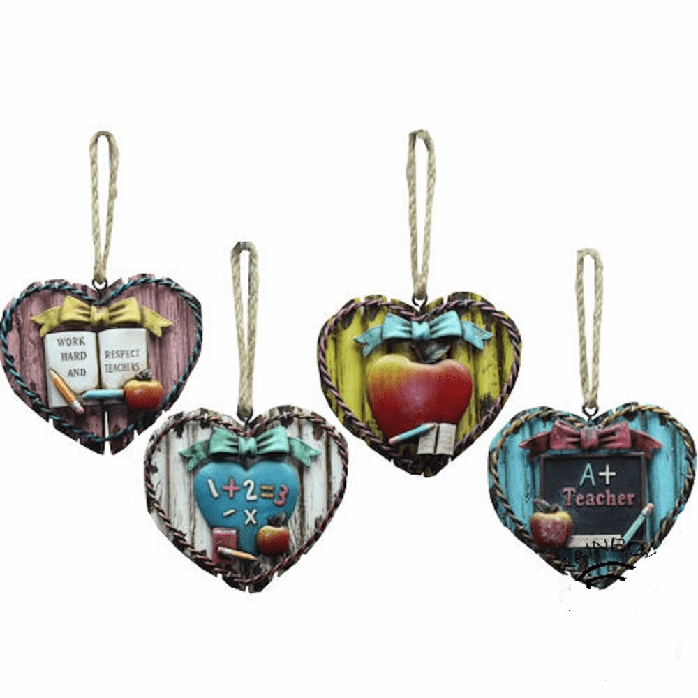Heart Teacher Educator Ornament Set