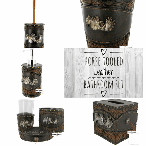 Horse Tooled Leather Bathroom Set