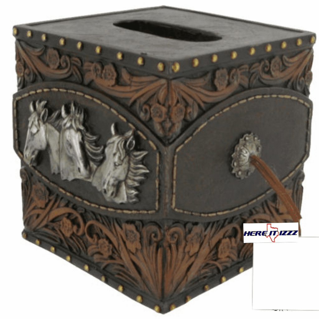 Horse Tooled Leather Kleenex Box Cover