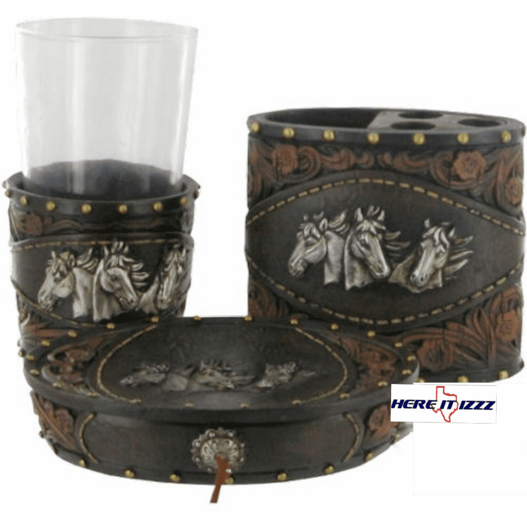 Horse Tooled Leather Vanity Set