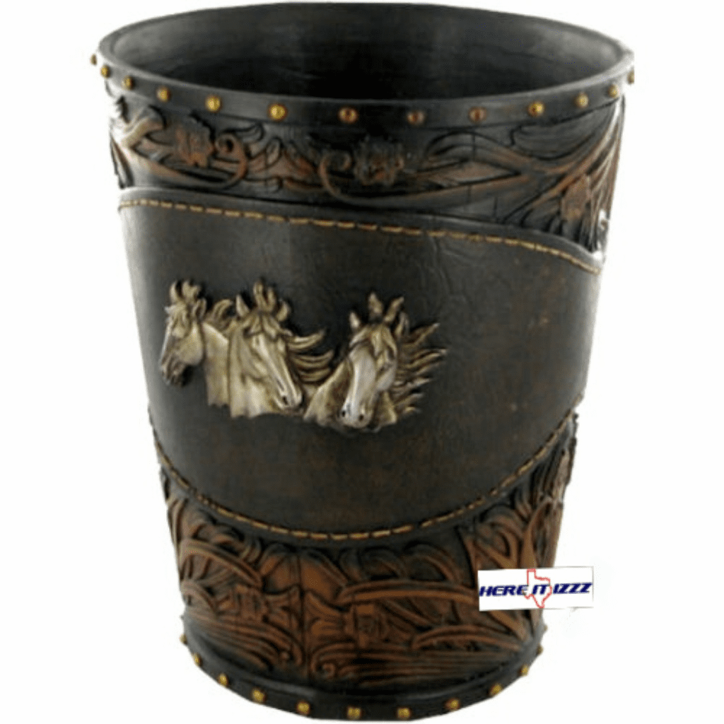 Horse Tooled Leather Wastebasket