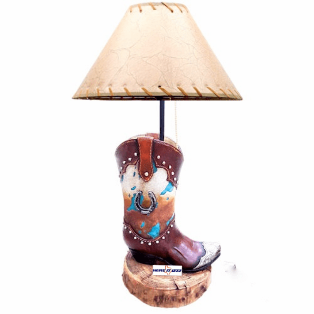 Horseshoe Cowhide Boot Lamp
