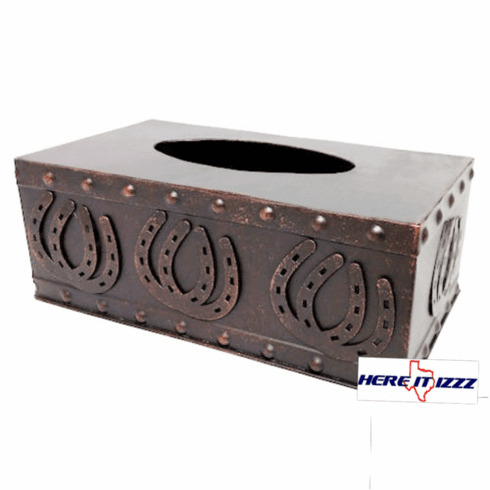 Horseshoes Studded Metal Tissue Box Cover
