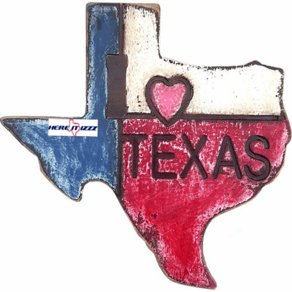 I Love Texas Painted Wall Sign