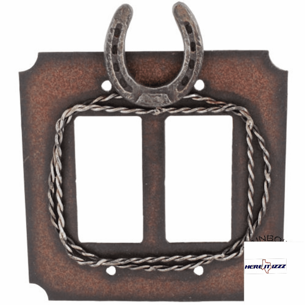 Metal Horseshoe & Barbwire Double Rocker Decora Plate