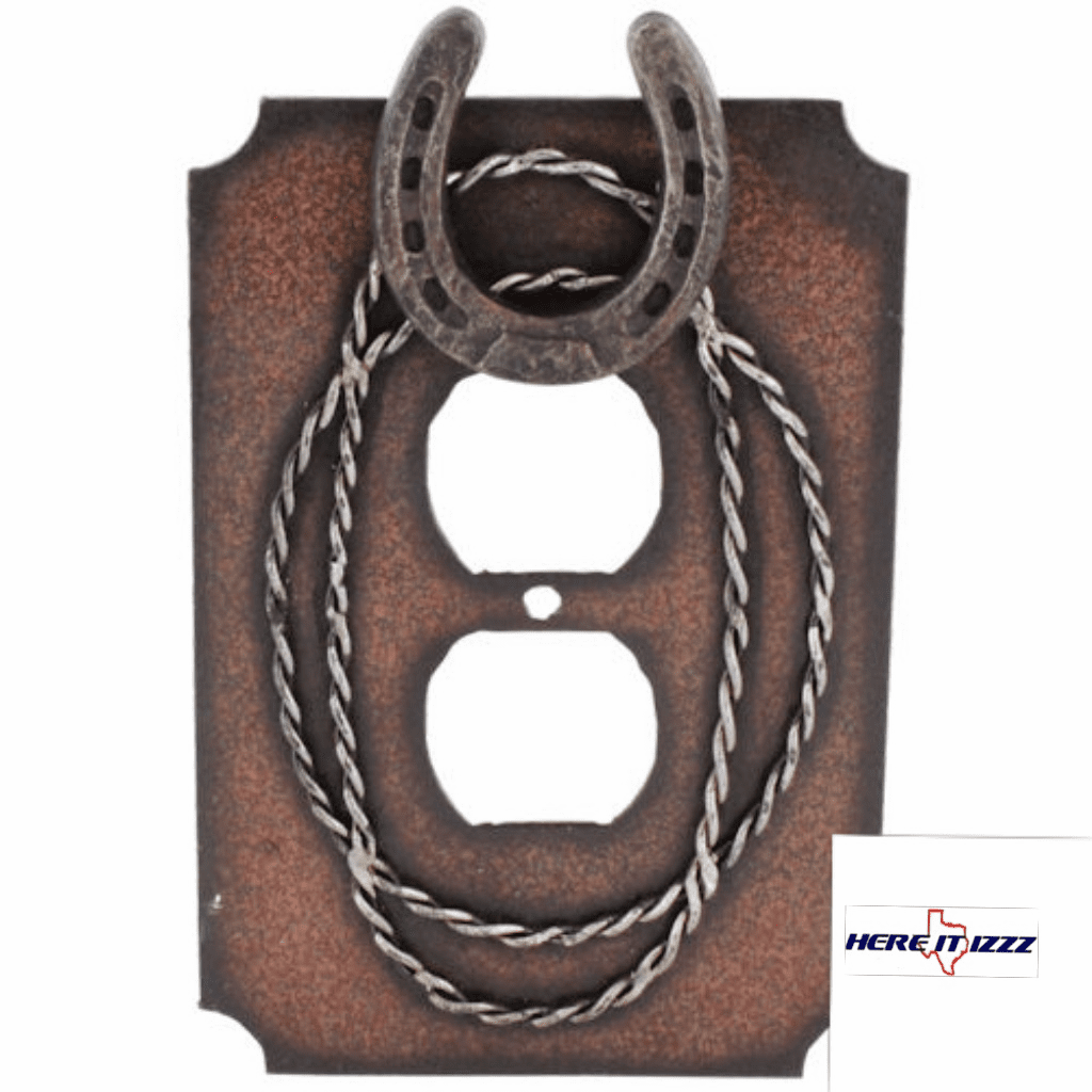 Metal Horseshoe & Barbwire Outlet Cover