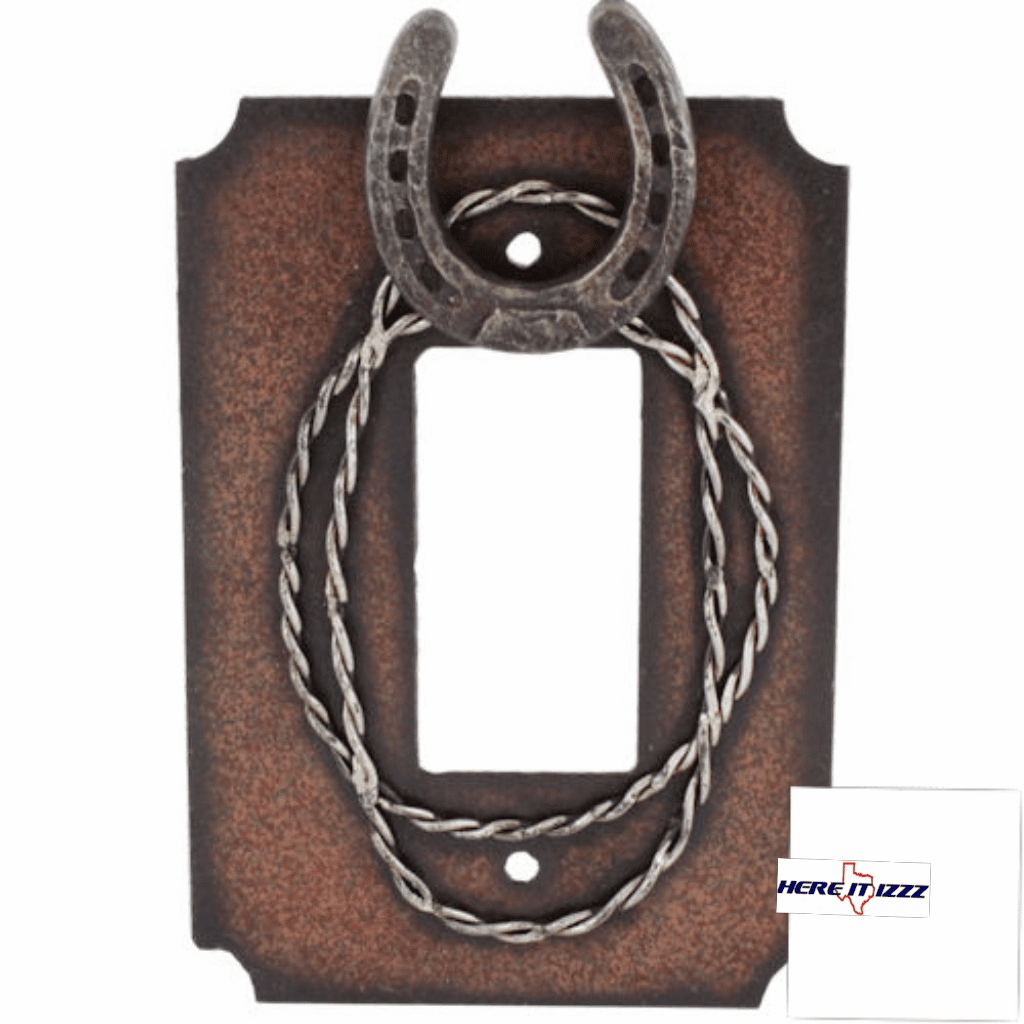 Metal Horseshoe & Barbwire Single Rocker Decora Plate