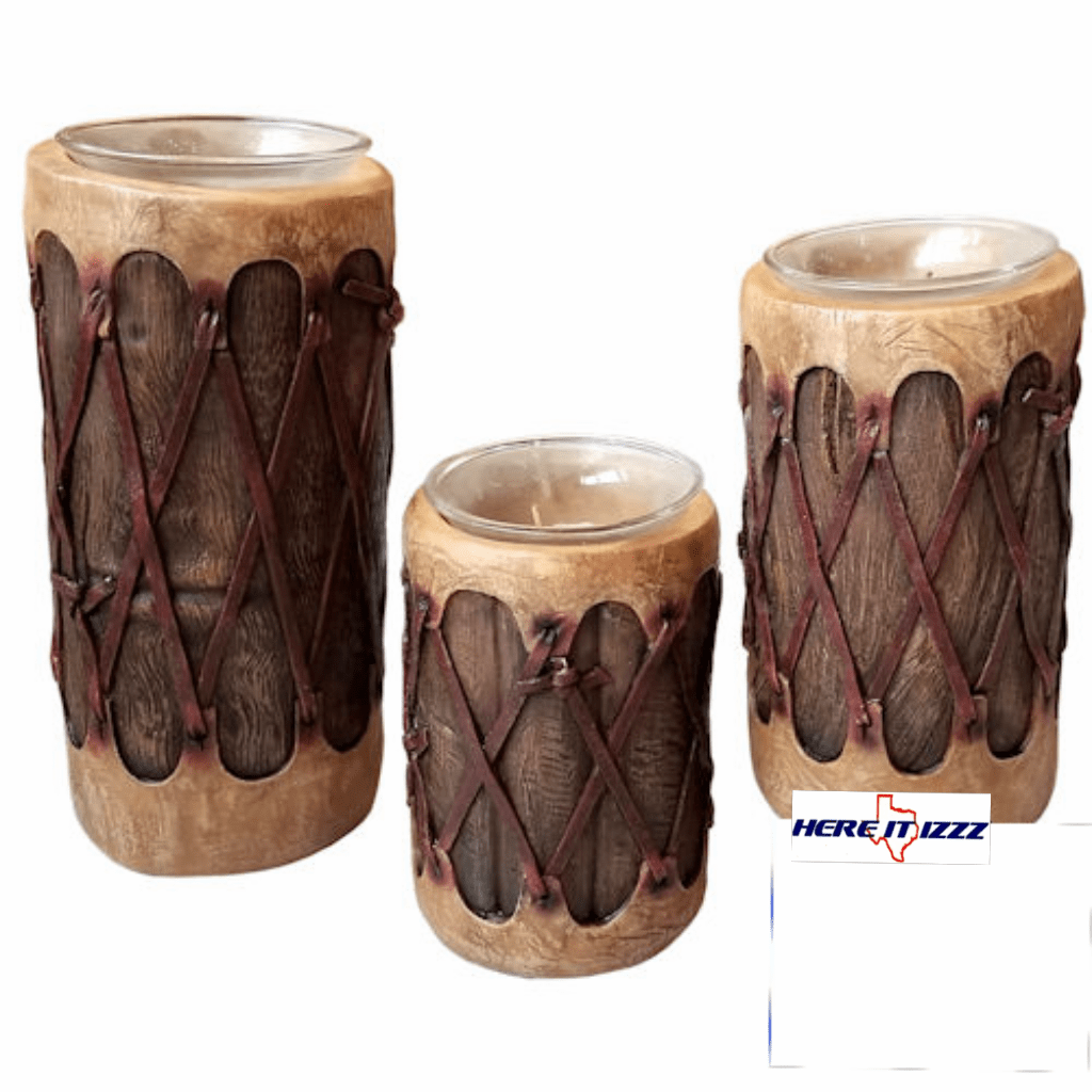 Native American Log Drum 3 Piece Candle Holder Set
