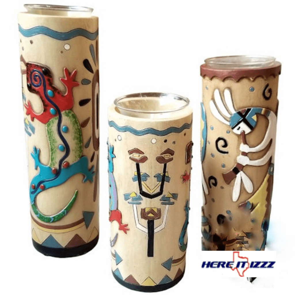 Native American Rock Art  Candle Holder 3pc Set