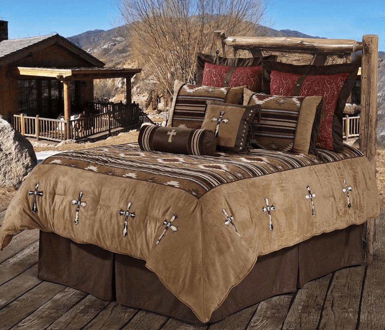 Navaho Cowhide Cross  Bedding Set