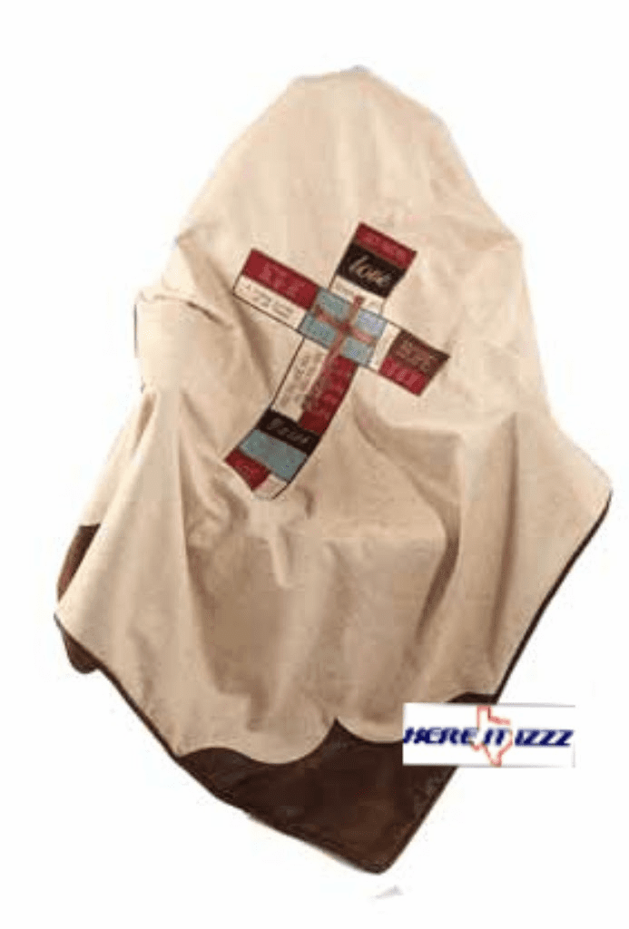 Patched Faith Cross Throw Blanket