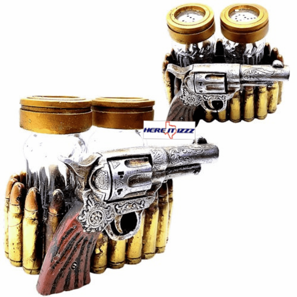 Pistol Salt and Pepper Shaker Holder
