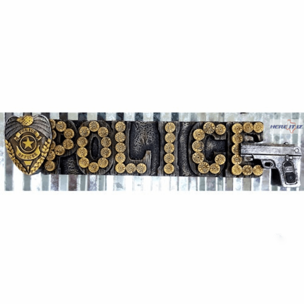 Police Officer Pistol  Metal  Sign