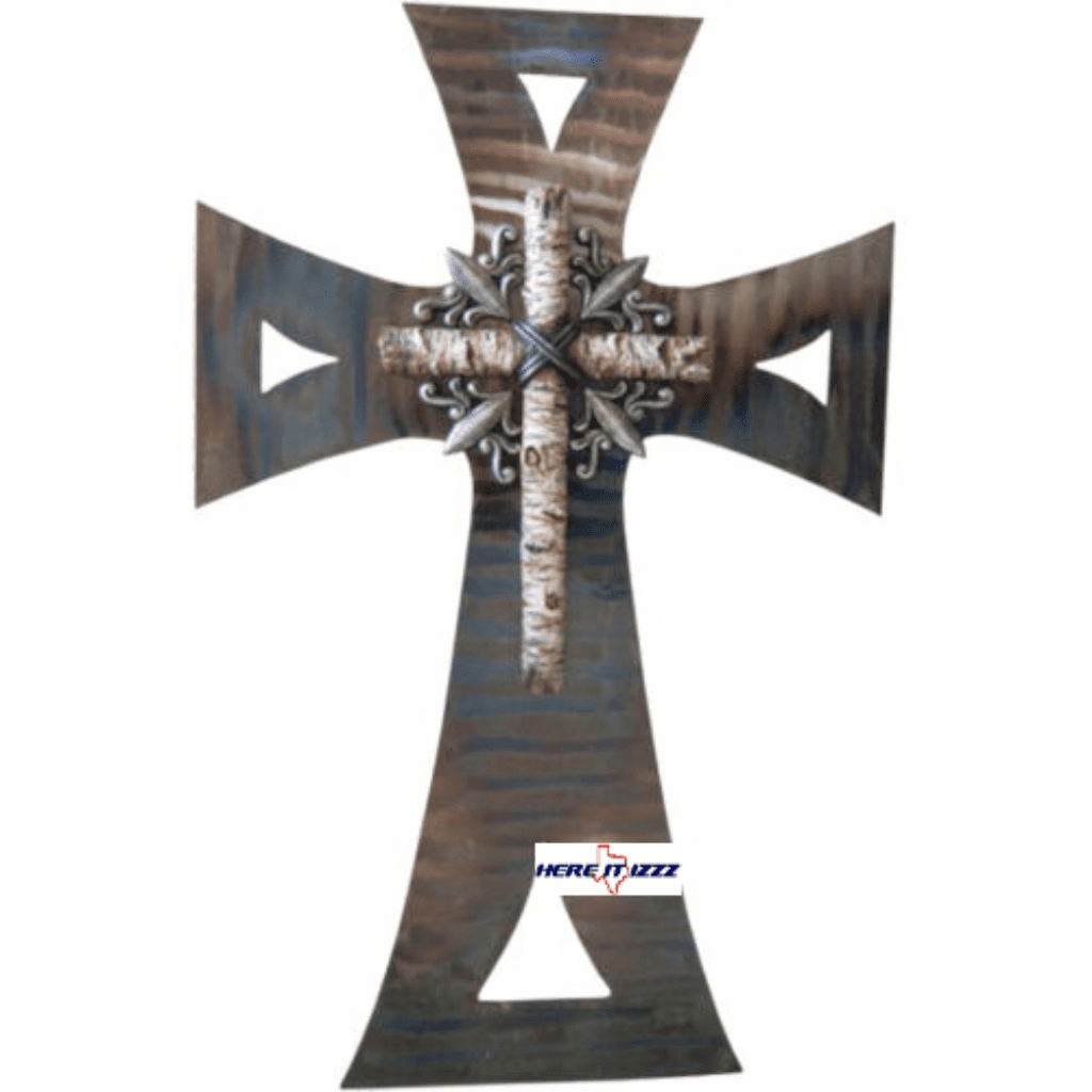Polished Metal  Birch Wood Wall Cross