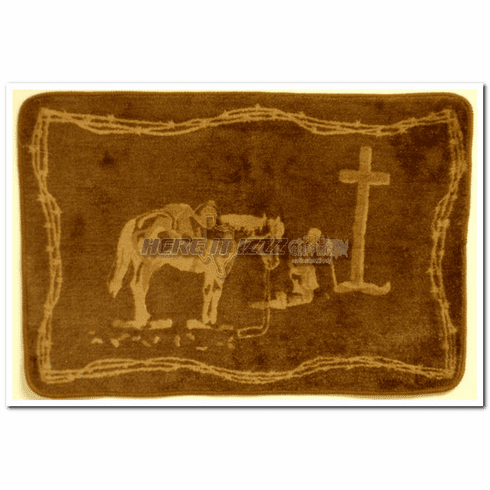 Praying Cowboy Dark Brown Bath or Kitchen Mat