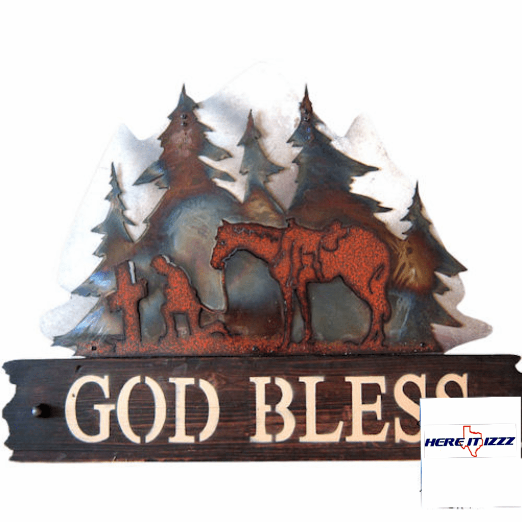 PRAYING COWBOY GOD BLESS SIGN