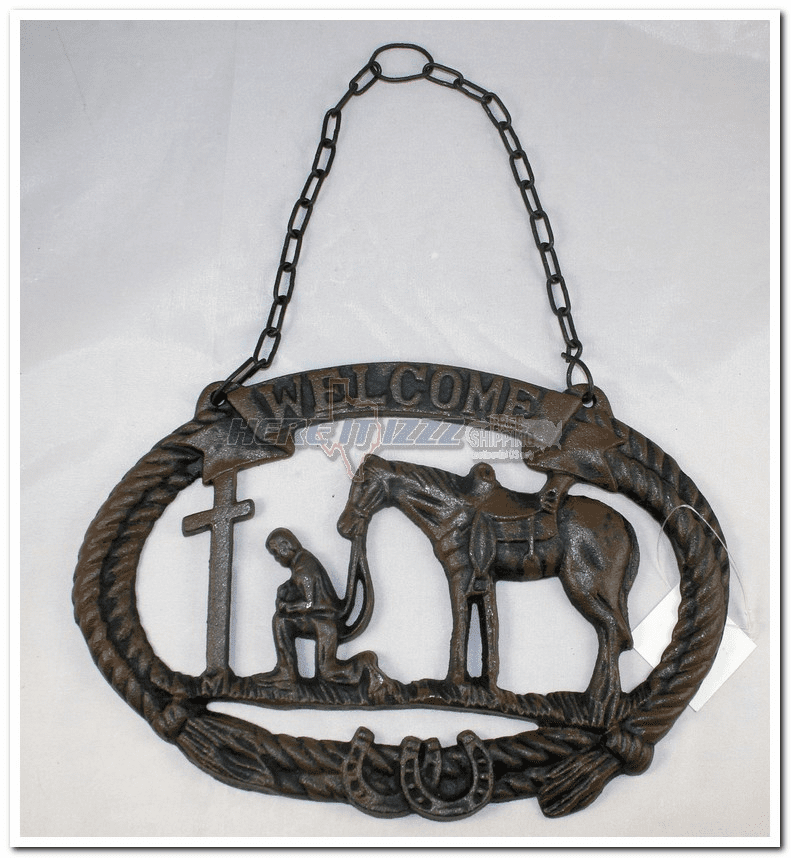 Praying Cowboy Hanging Iron Welcome Sign -