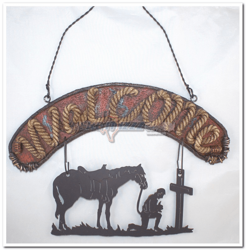 Praying Cowboy Hanging Welcome Sign