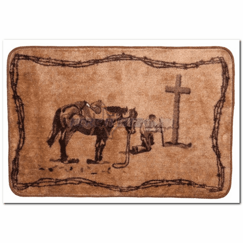 Praying Cowboy Light Brown Bath or Kitchen Mat