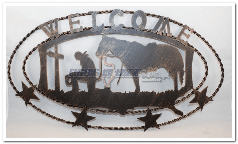 Praying Cowboy Metal Welcome Wall Plaque