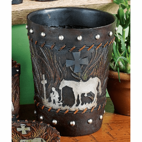 Praying Cowboy Waste Basket