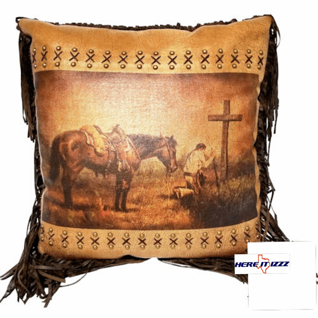 Praying Cowboy Western Accent Pillow