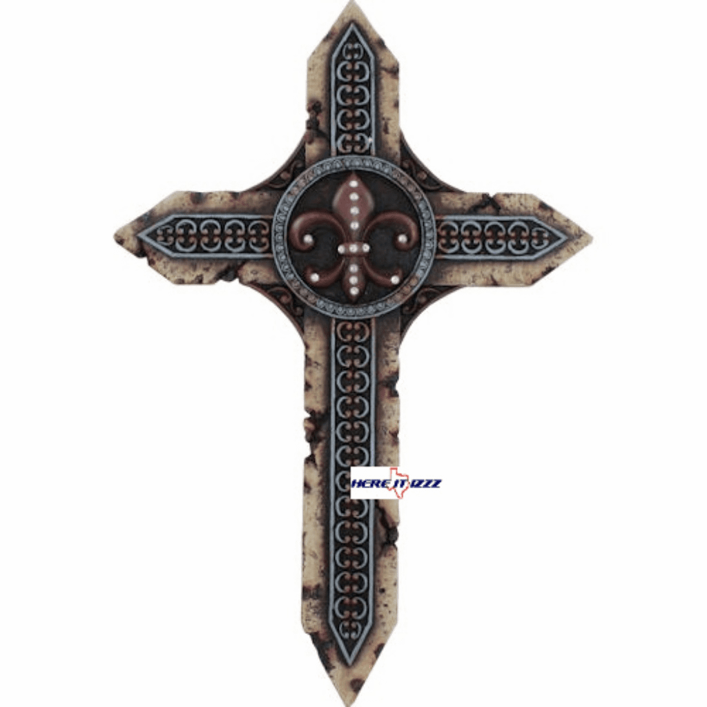 Red and Turquoise Fleur De Lis Wall Cross