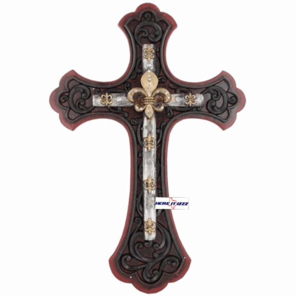 Red Fleur-de-lis Wall Cross