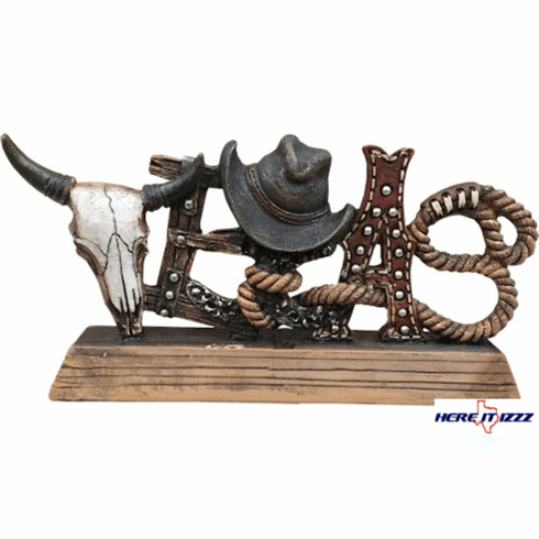 Rodeo Texas Cowboy Hat Ranching Rope Skull Sign