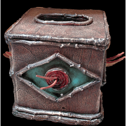 Rustic Distressed Aged Wood Look Turquoise and Burgundy  Tissue Box Cover