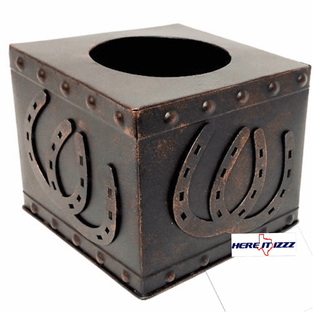 Rustic Horseshoe Square Metal Tissue Box