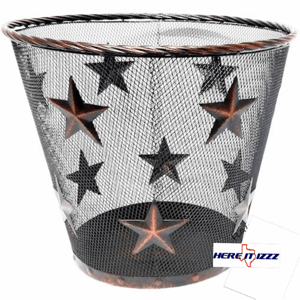 Rustic Metal Star Wire Wastebasket