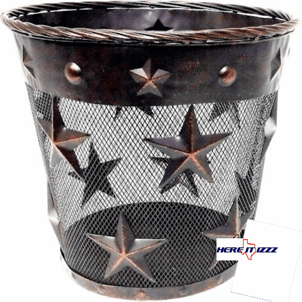Rustic Stars with Studs Metal Wastebasket