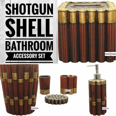 Shotgun Shell Bathroom Accessory Complete Set
