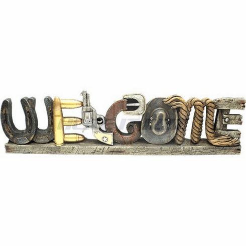 Six Shooter Pistol Welcome Wall Door Sign