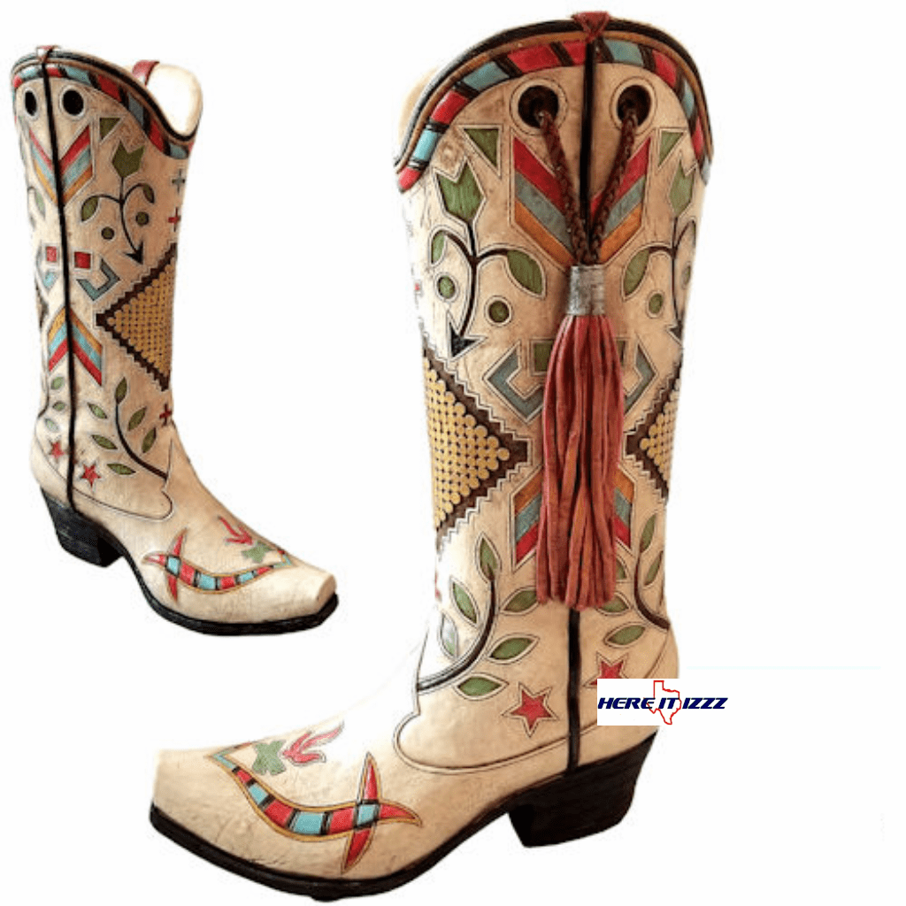 Southwestern American Cowgirl Boot Vase